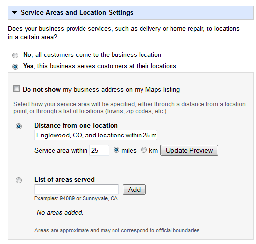 how to change business address on google